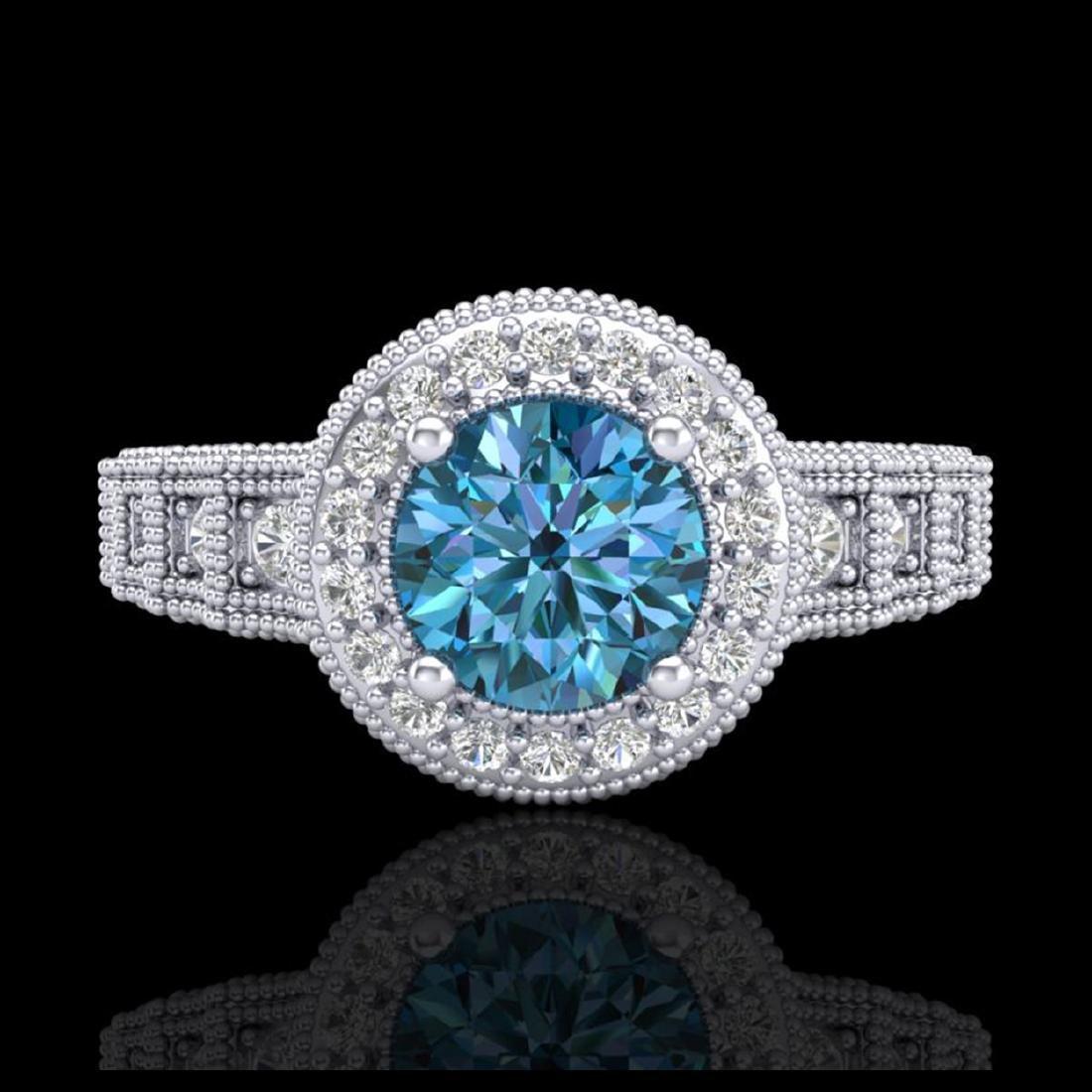 1.53 CTW Fancy Intense Blue Diamond Solitaire Art Deco - 2