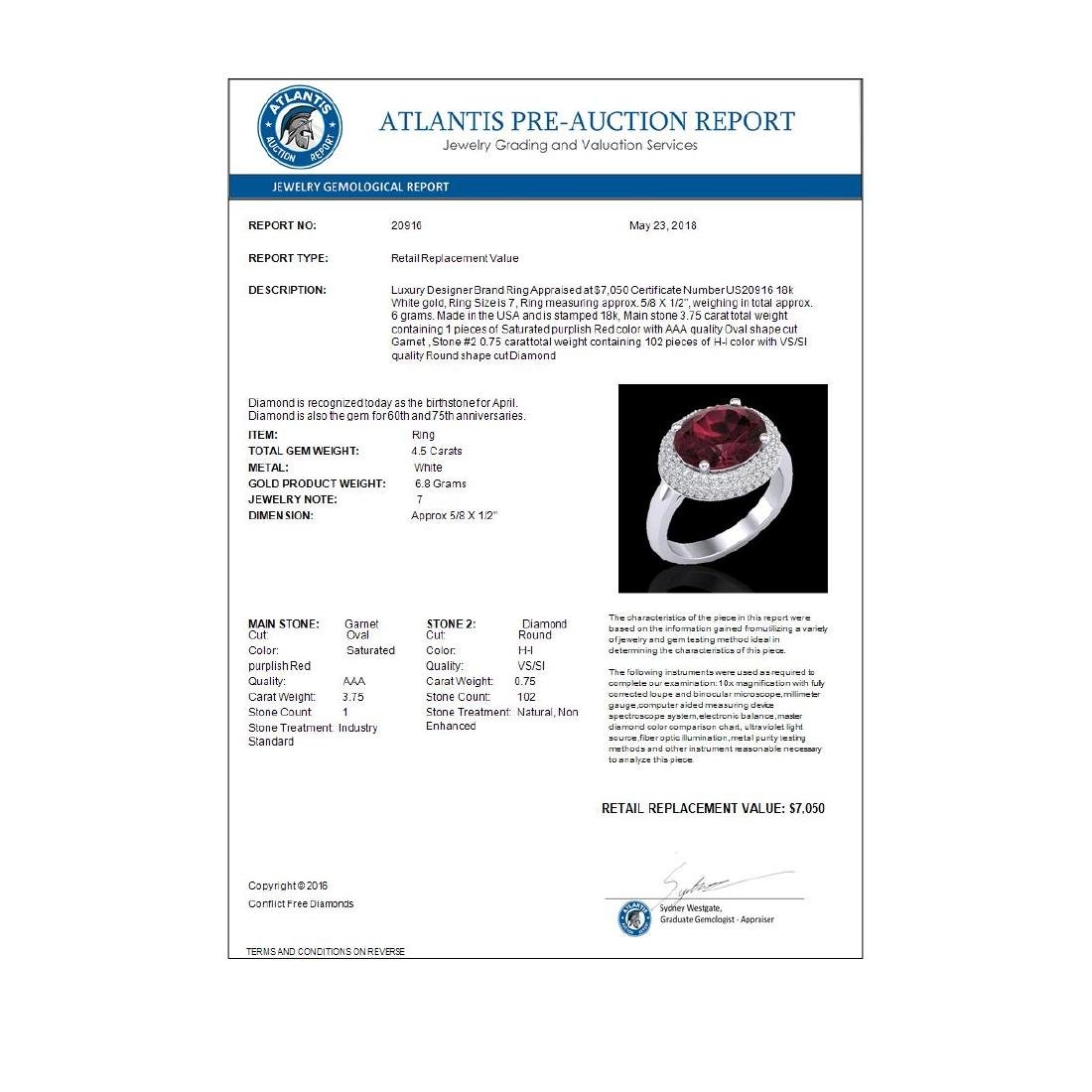 4.50 CTW Garnet & Micro Pave VS/SI Diamond Ring 18K - 3
