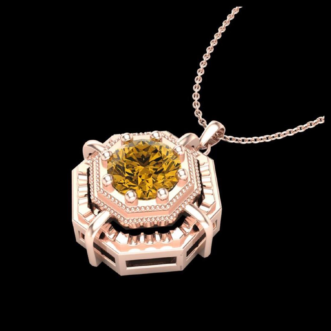 0.75 CTW Intense Fancy Yellow Diamond Art Deco Stud - 2