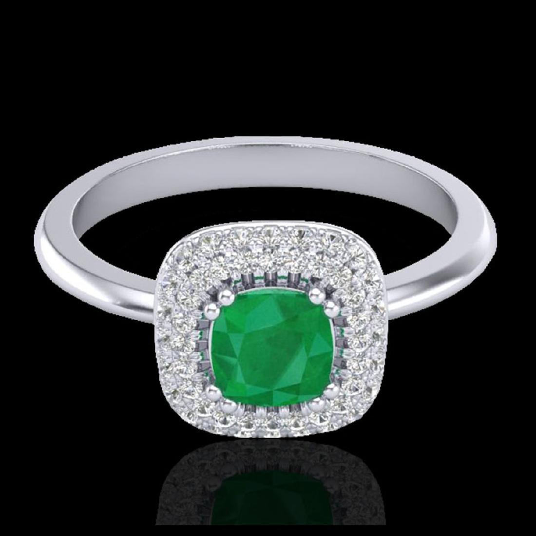 1.16 CTW Emerald & Micro VS/SI Diamond Ring Solitaire