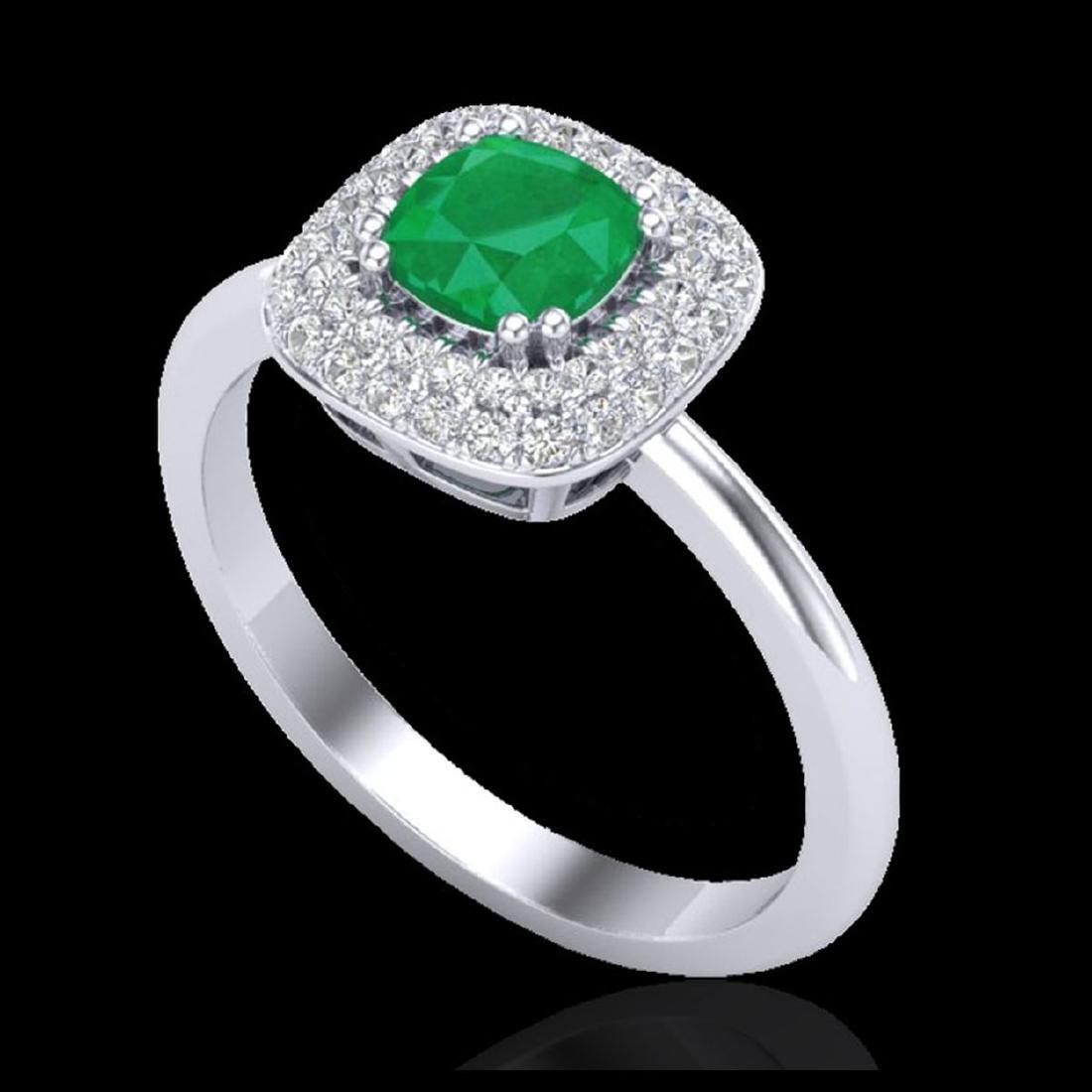 1.16 CTW Emerald & Micro VS/SI Diamond Ring Solitaire - 2