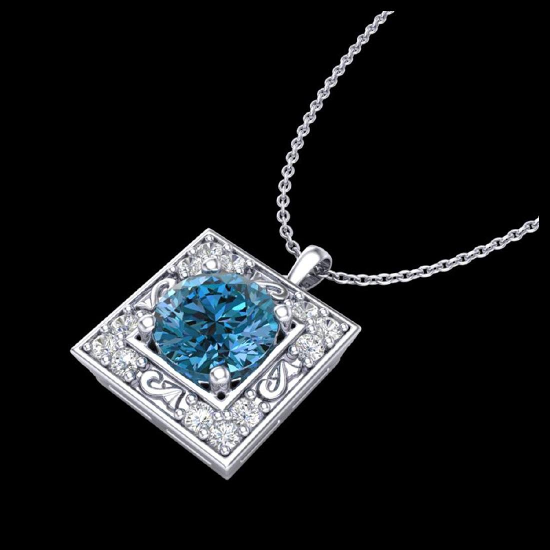 1.02 CTW Fancy Intense Blue Diamond Solitaire Art Deco - 2