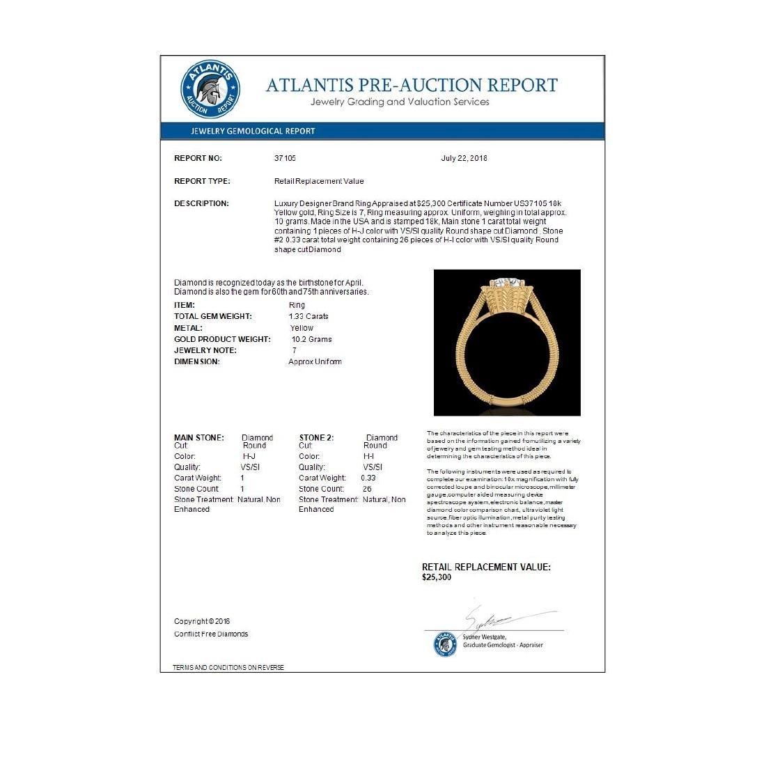 1.33 CTW VS/SI Diamond Solitaire Art Deco Ring 18K - 2
