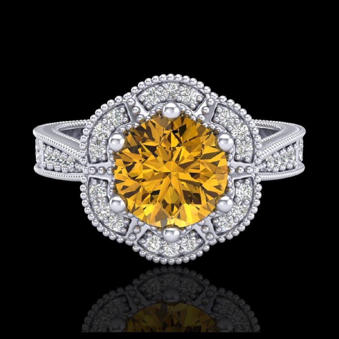 1.33 CTW Intense Fancy Yellow Diamond Engagement Art - 2