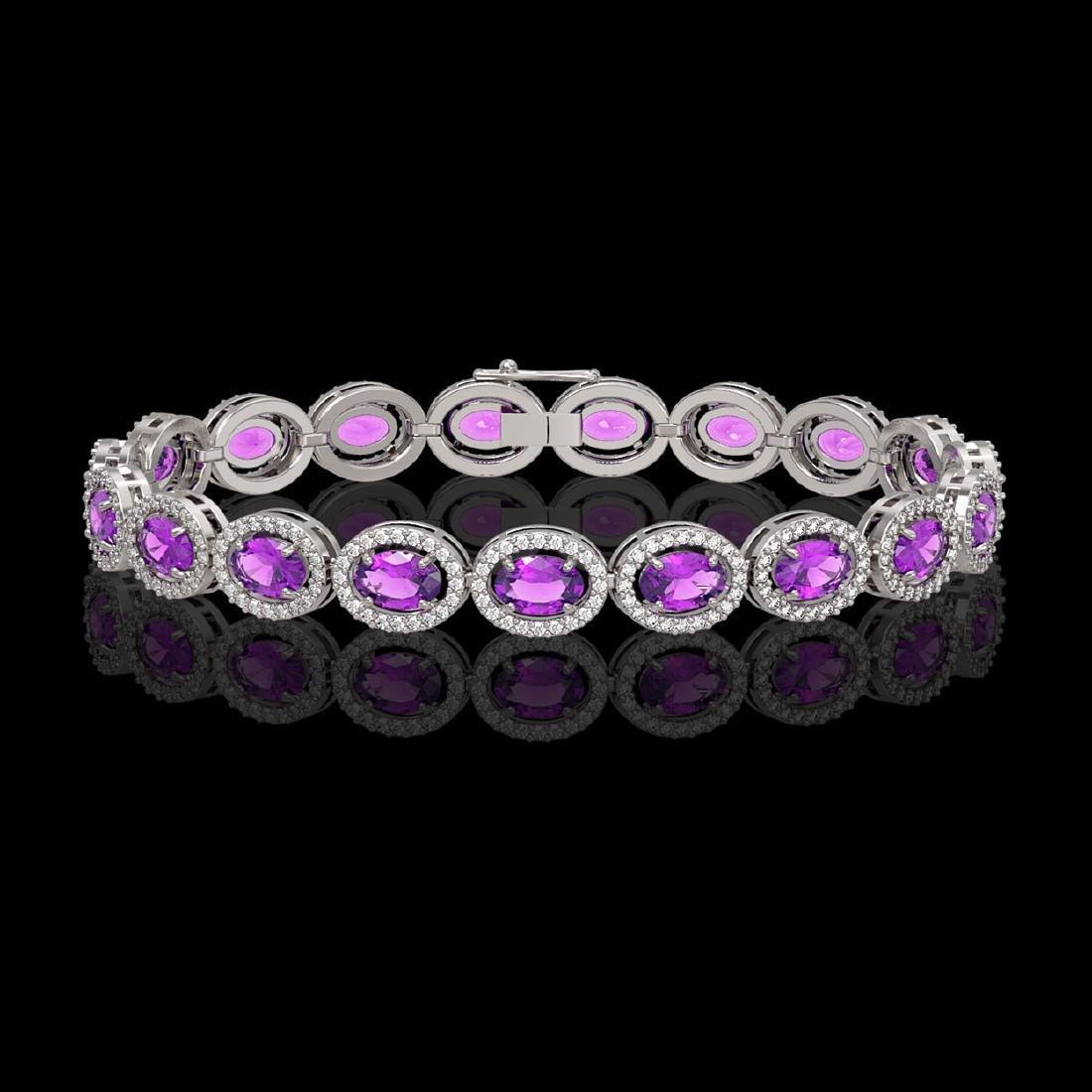 13.11 CTW Amethyst & Diamond Halo Bracelet 10K White
