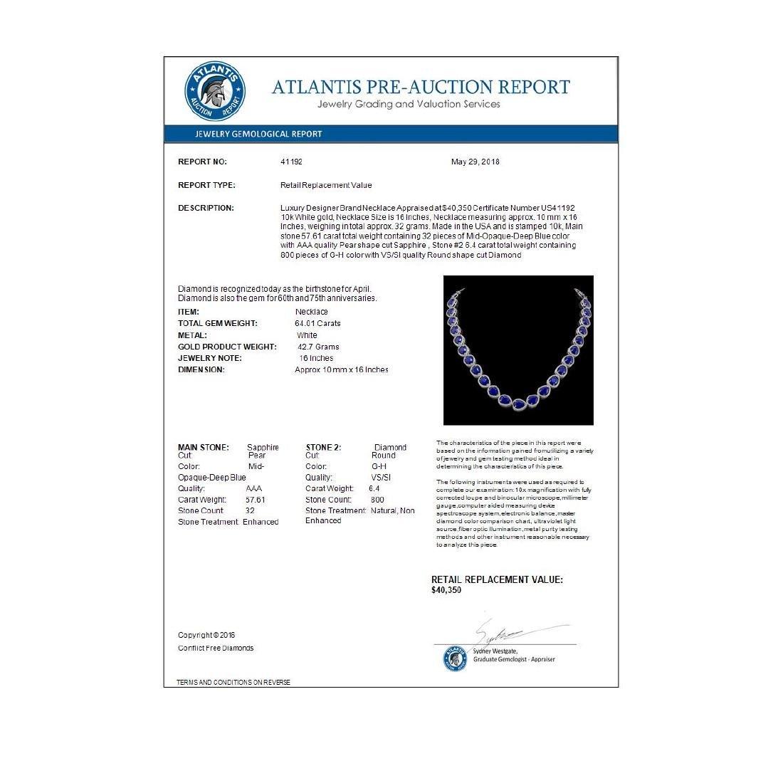 64.01 CTW Sapphire & Diamond Halo Necklace 10K White - 3