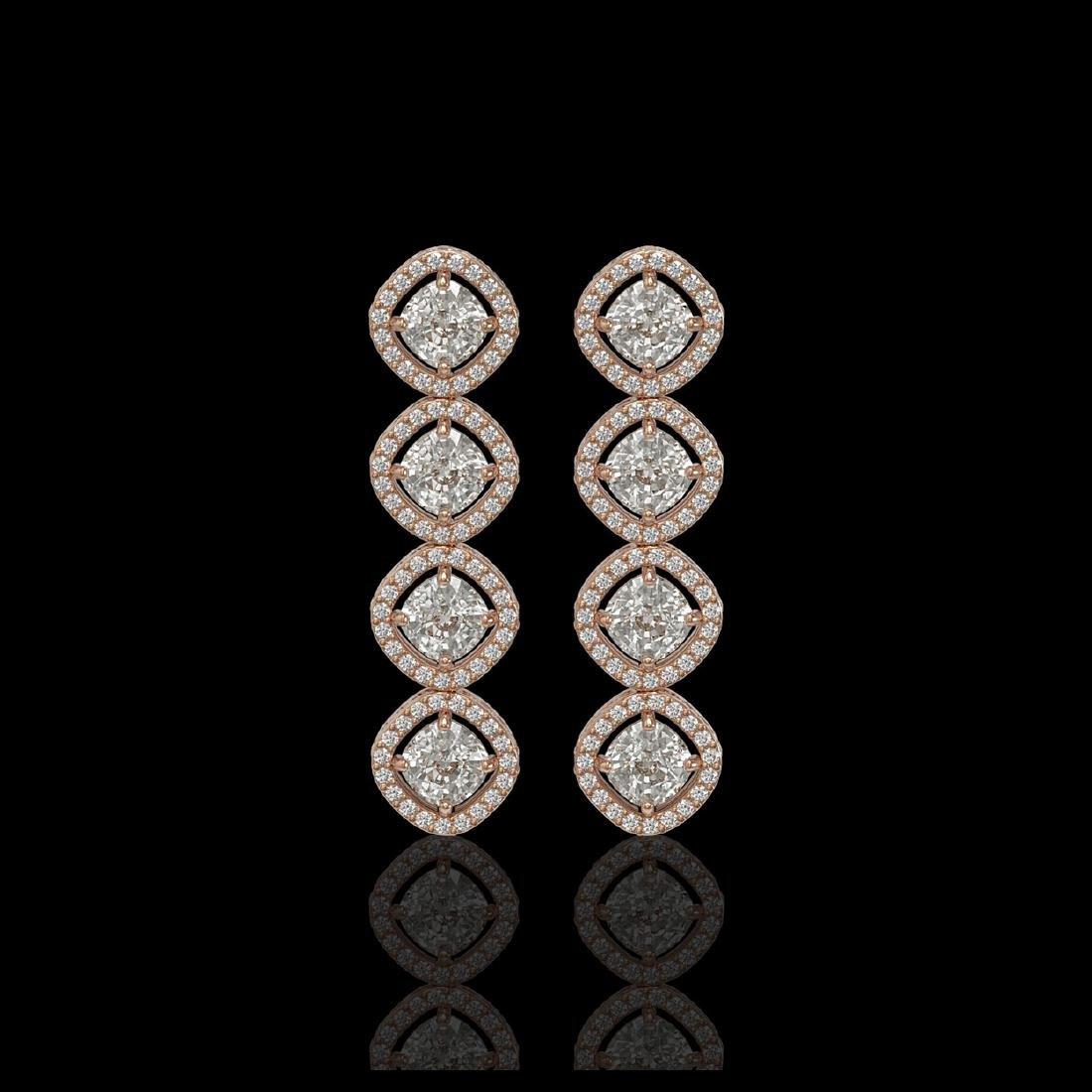 5.28 CTW Cushion Cut Diamond Designer Earrings 18K Rose