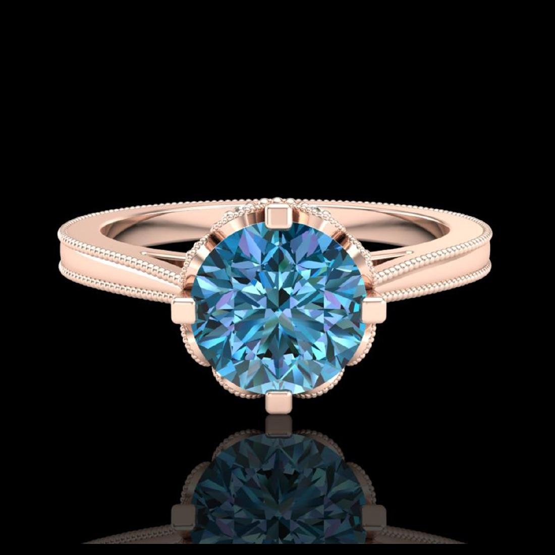 1.5 CTW Fancy Intense Blue Diamond Engagement Art Deco - 2