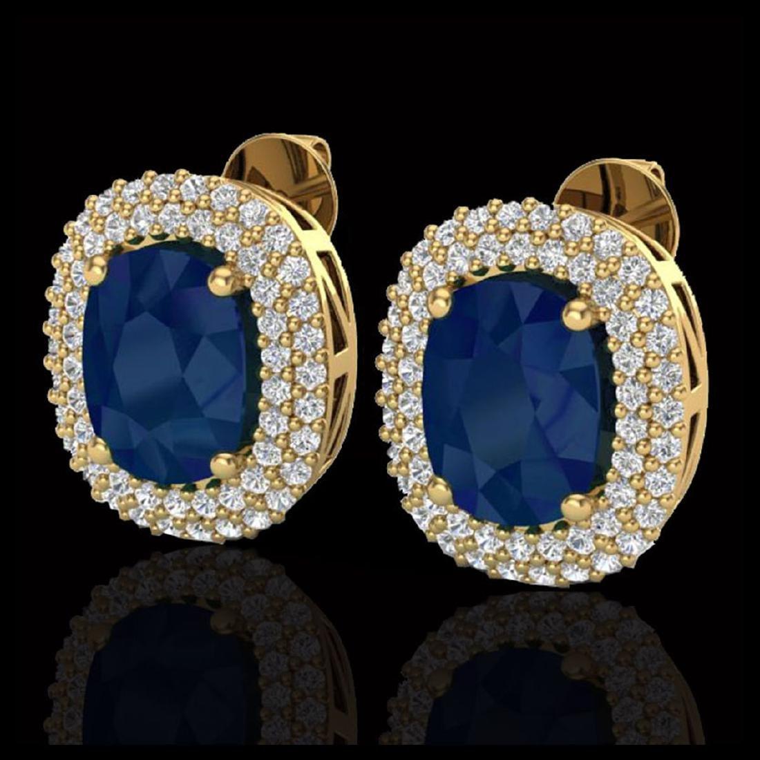 6.30 CTW Sapphire & Micro Pave VS/SI Diamond Halo