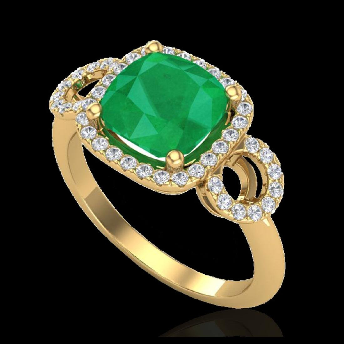 3.15 CTW Emerald & Micro VS/SI Diamond Ring 18K Yellow - 2