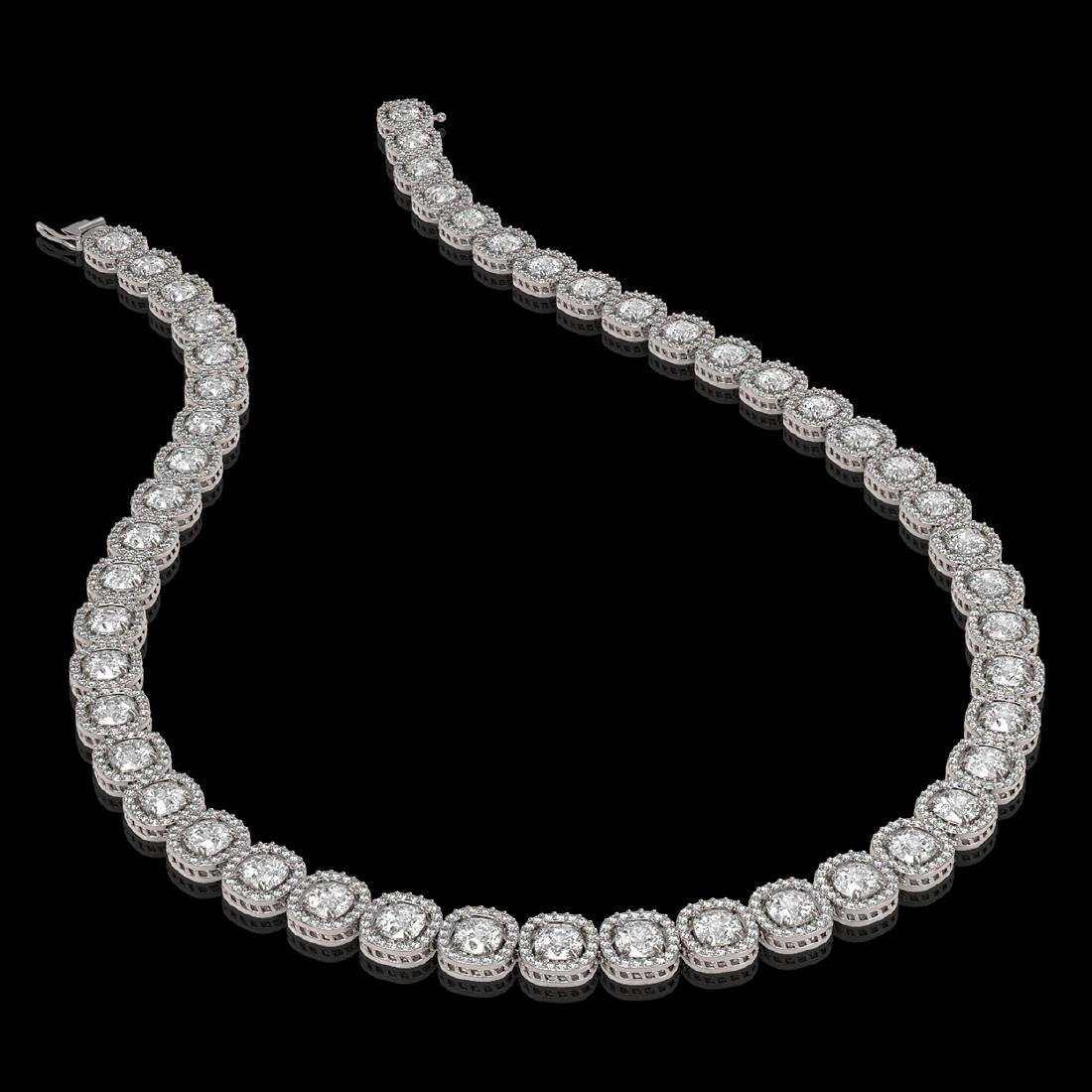 32.64 CTW Cushion Diamond Designer Necklace 18K White - 2