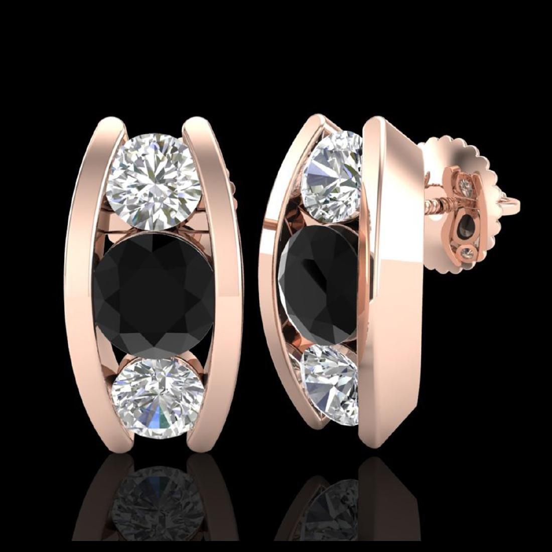2.18 CTW Fancy Black Diamond Solitaire Art Deco Stud - 2