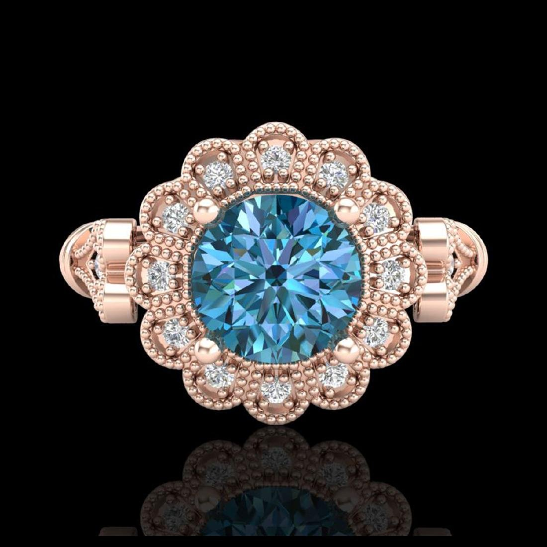 1.2 CTW Intense Blue Diamond Solitaire Engagement Art - 2