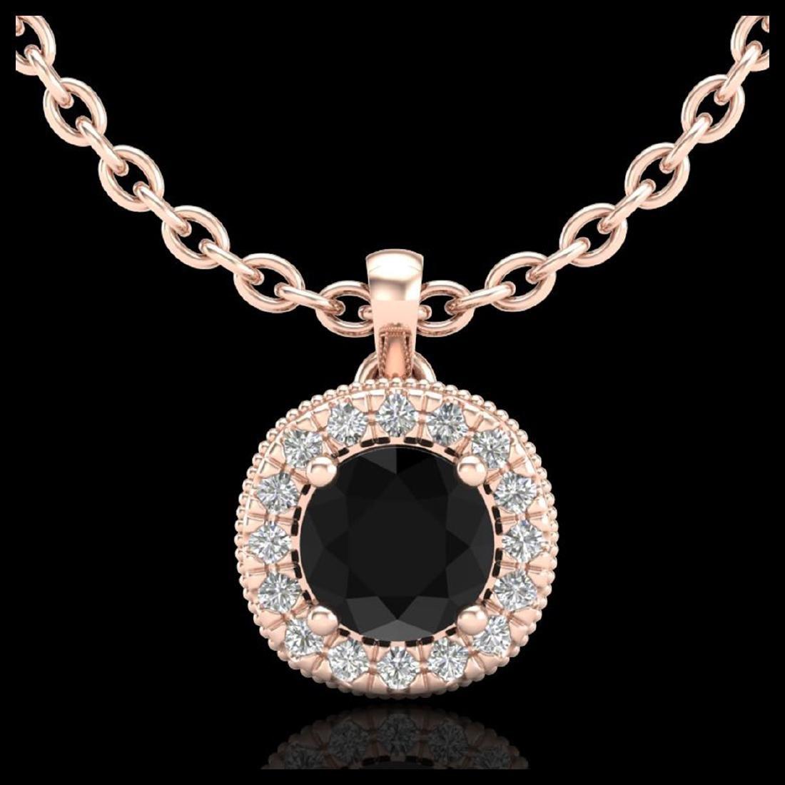 1.1 CTW Fancy Black Diamond Solitaire Art Deco Stud
