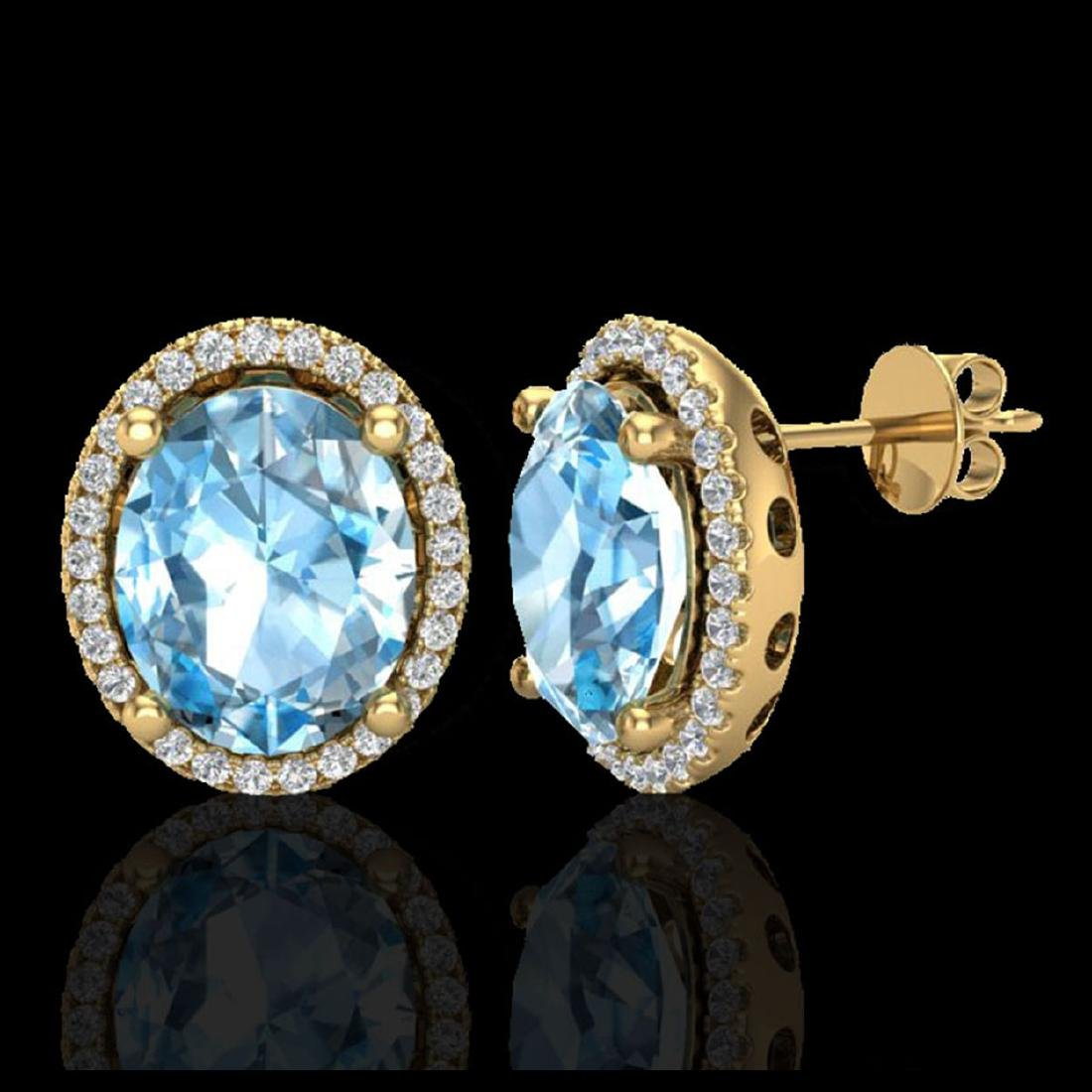 6 CTW Sky Blue Topaz & Micro VS/SI Diamond Earrings - 2