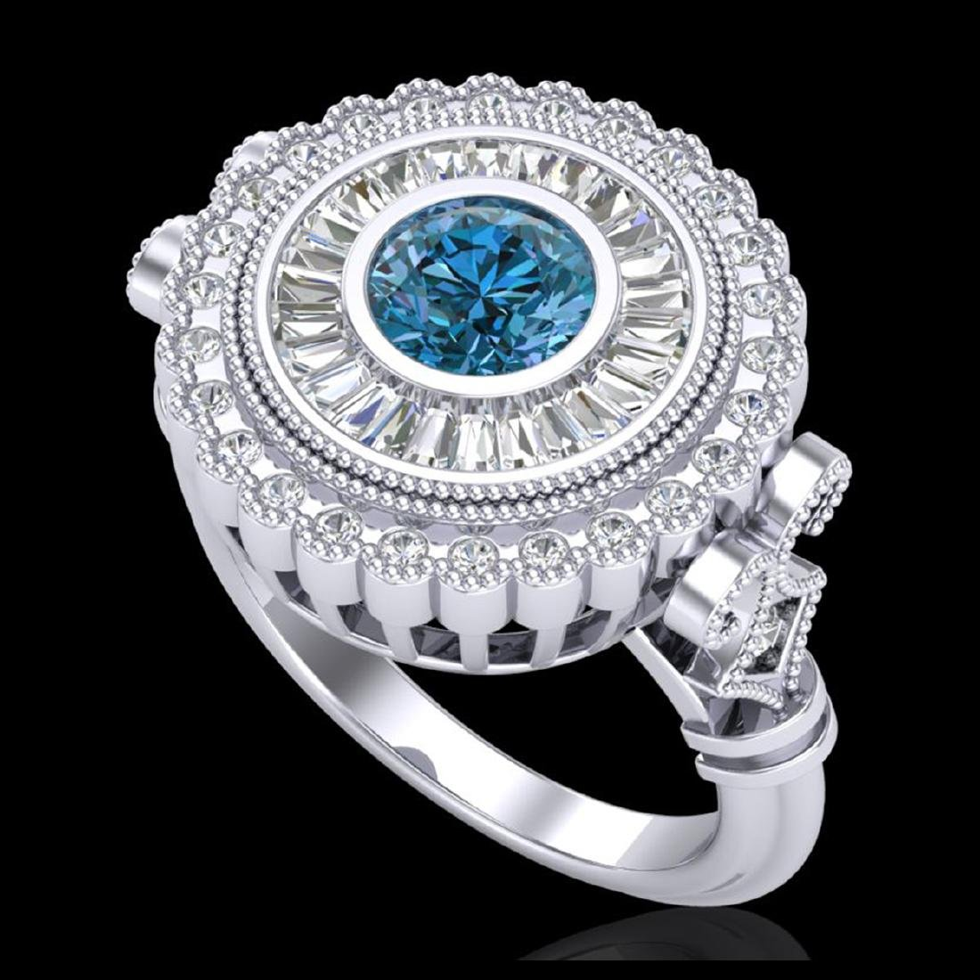 2.03 CTW Fancy Intense Blue Diamond Solitaire Art Deco