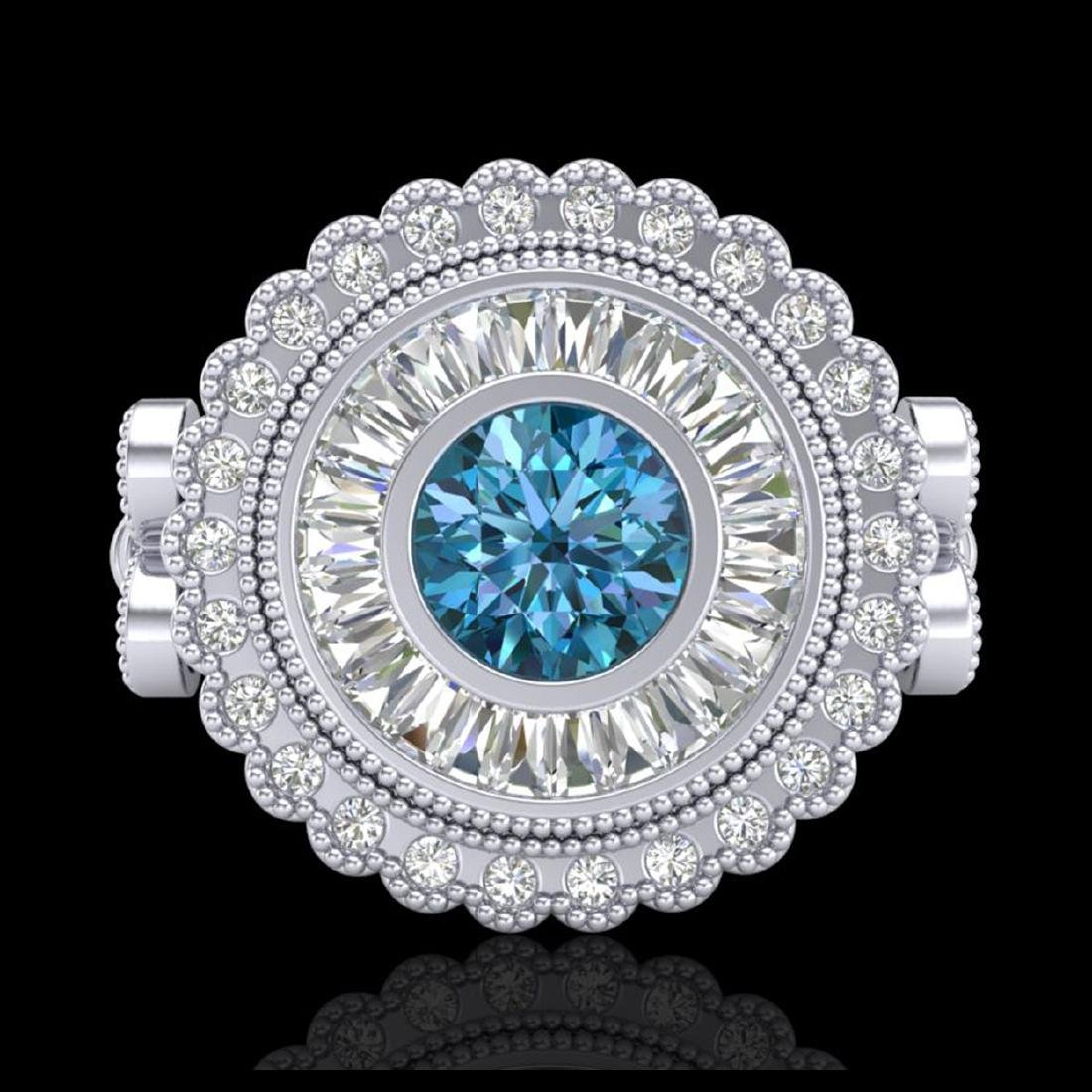 2.03 CTW Fancy Intense Blue Diamond Solitaire Art Deco - 2