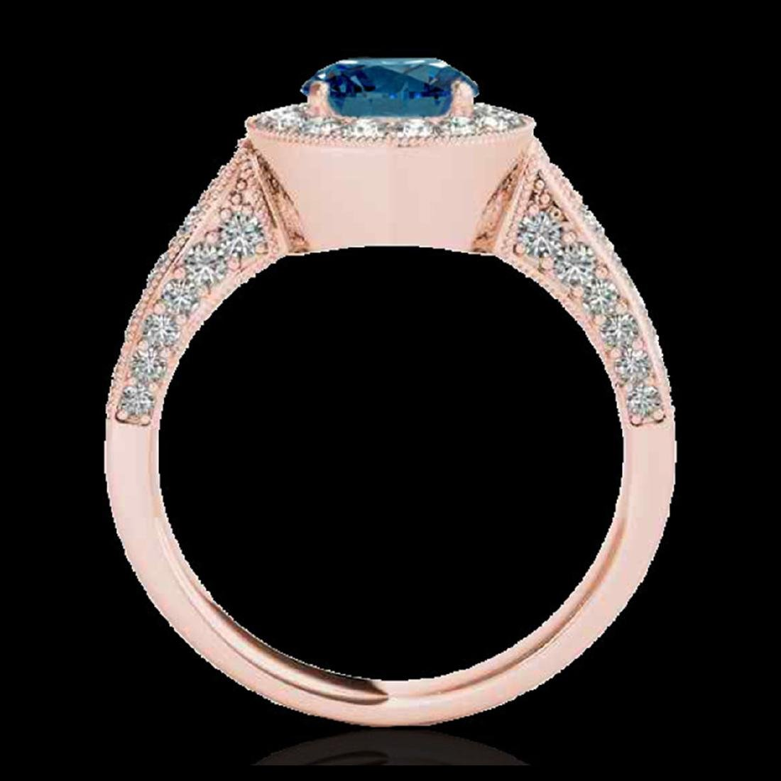 2 CTW SI Certified Fancy Blue Diamond Solitaire Halo - 2