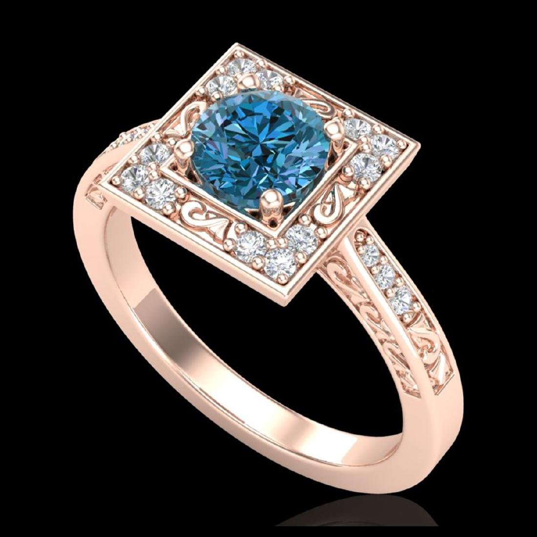 1.1 CTW Intense Blue Diamond Solitaire Engagement Art