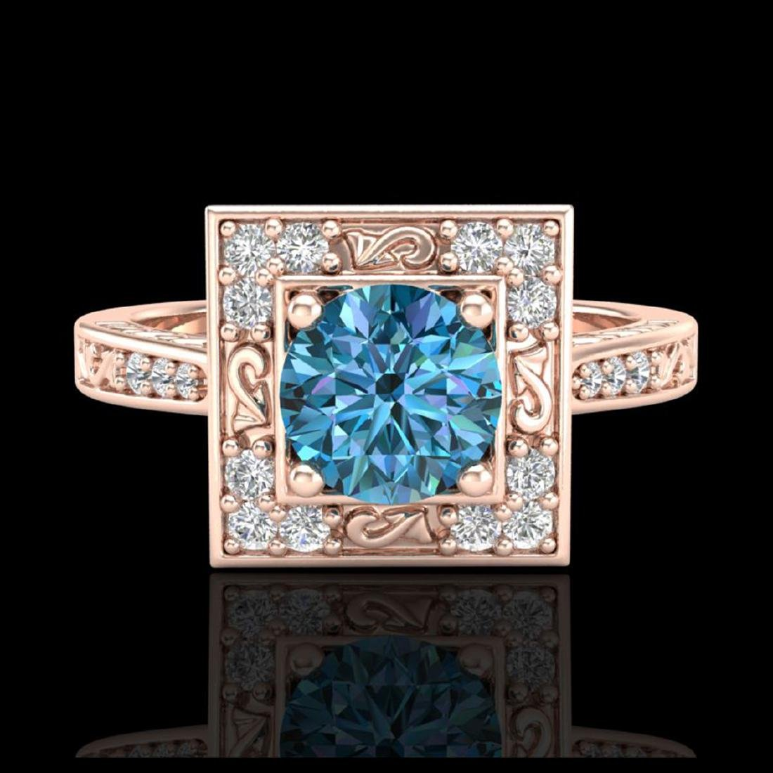 1.1 CTW Intense Blue Diamond Solitaire Engagement Art - 2