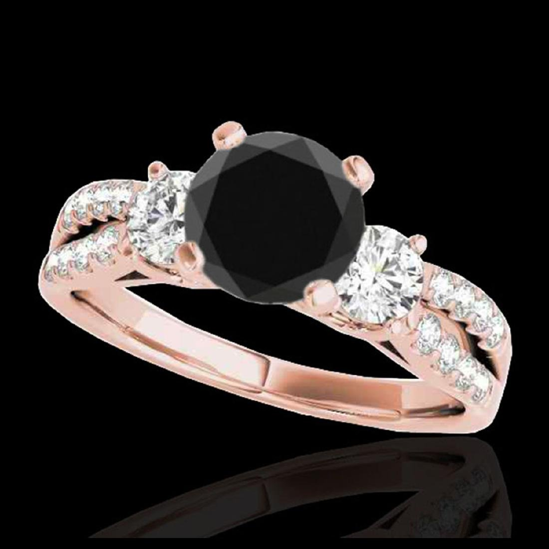 1.5 CTW Certified VS Black Diamond 3 Stone Solitaire