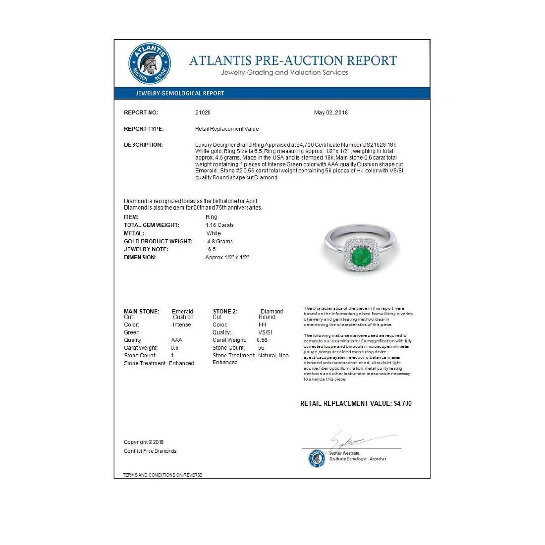 1.16 CTW Emerald & Micro VS/SI Diamond Ring Solitaire - 3