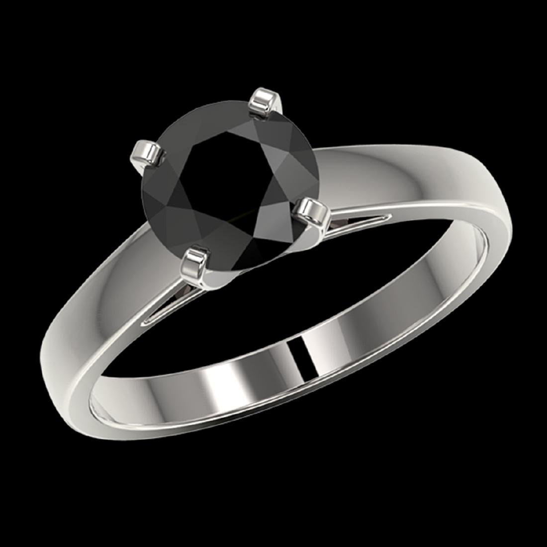 1.50 CTW Fancy Black VS Diamond Solitaire Engagement - 2