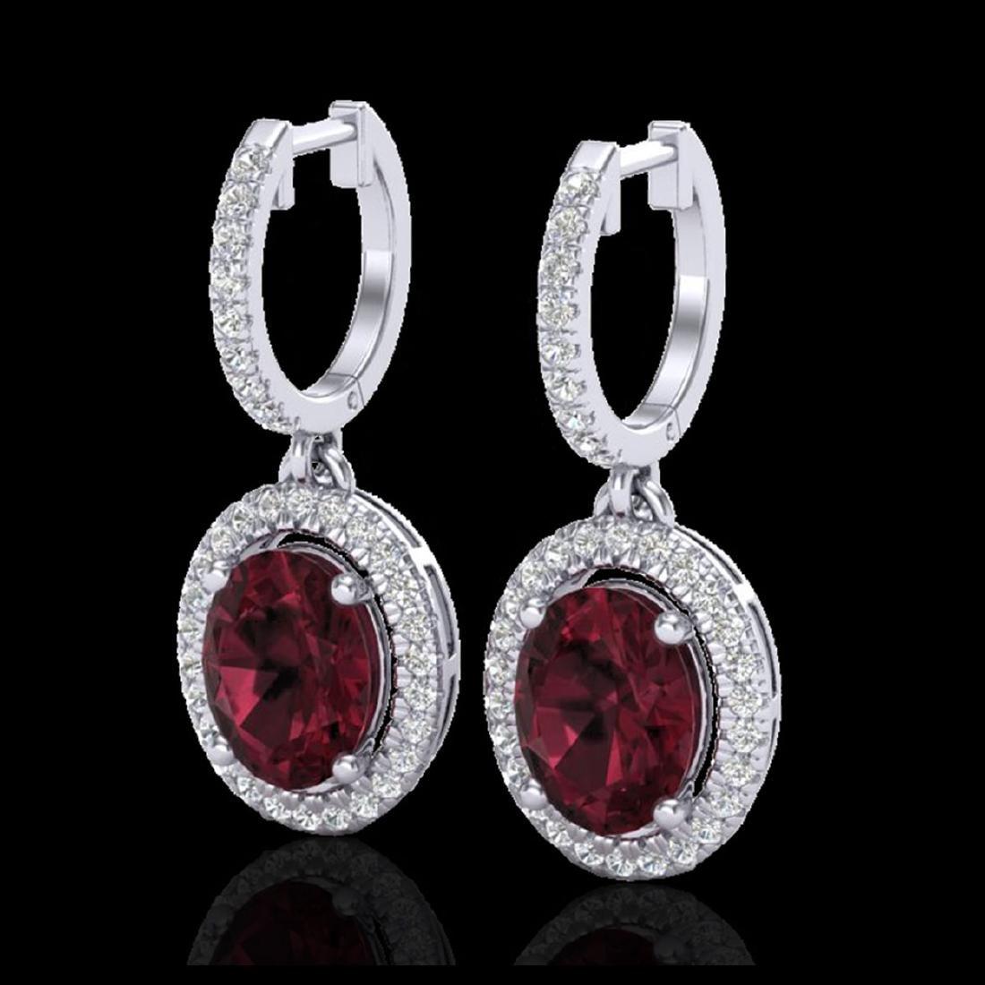 3.75 CTW Garnet & Micro Pave VS/SI Diamond Earrings