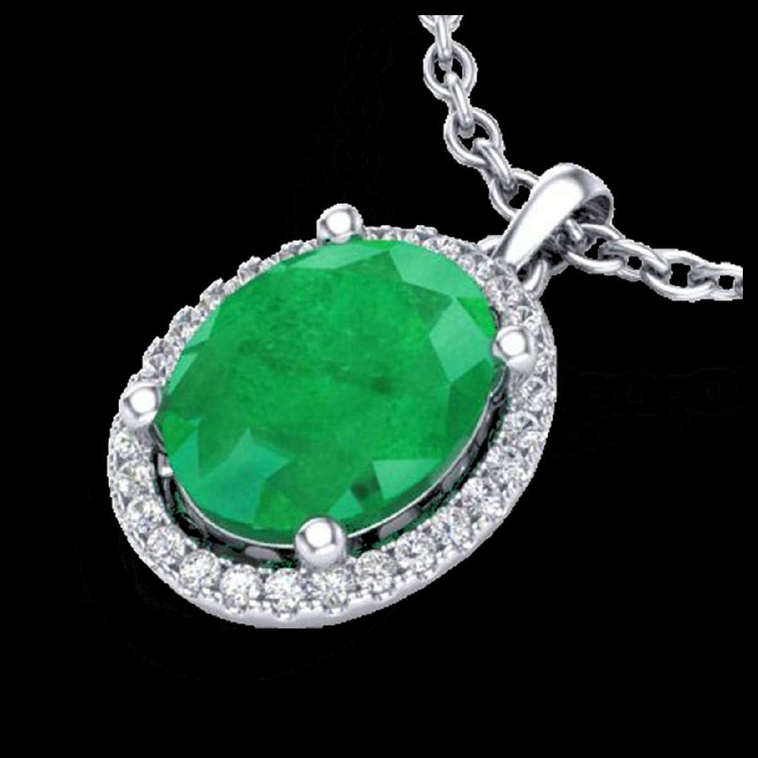 3 CTW Emerald & Micro Pave VS/SI Diamond Necklace Halo