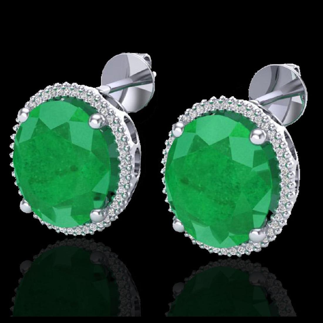25 CTW Emerald & Micro Pave VS/SI Diamond Halo Earrings