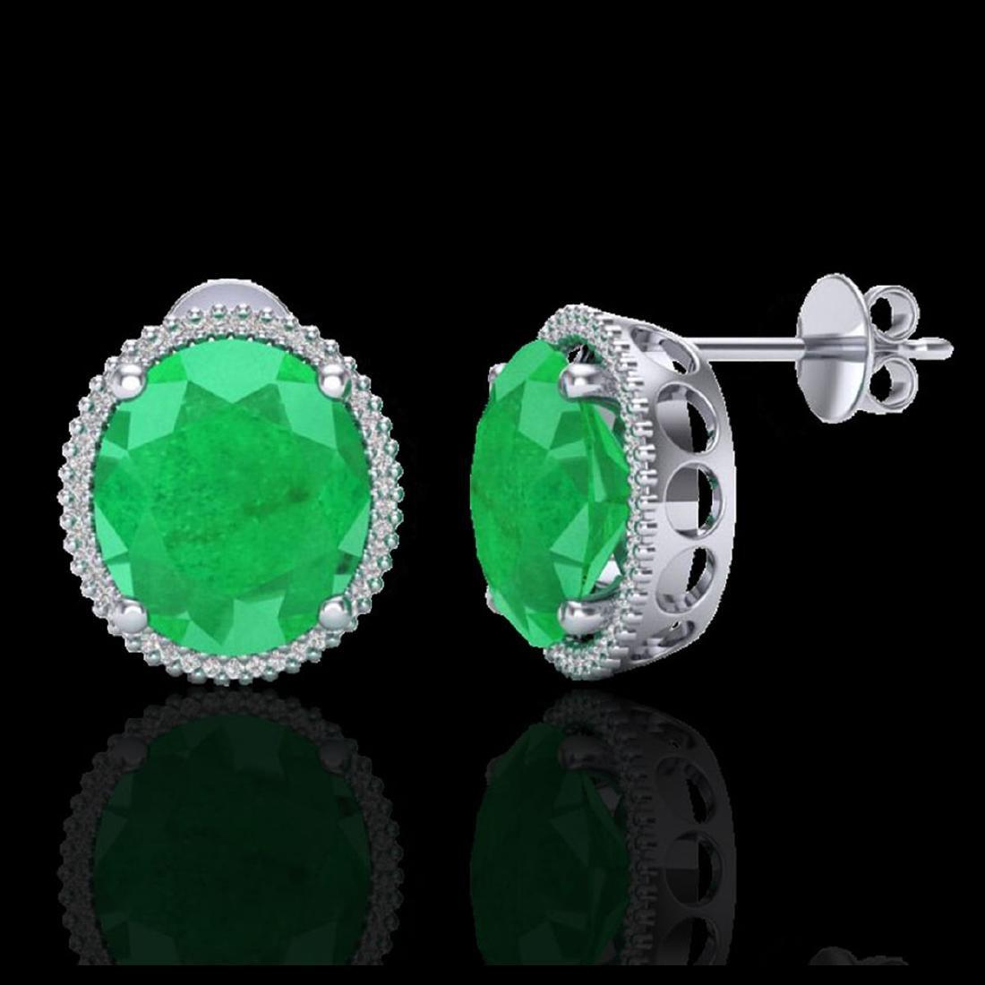 25 CTW Emerald & Micro Pave VS/SI Diamond Halo Earrings - 2