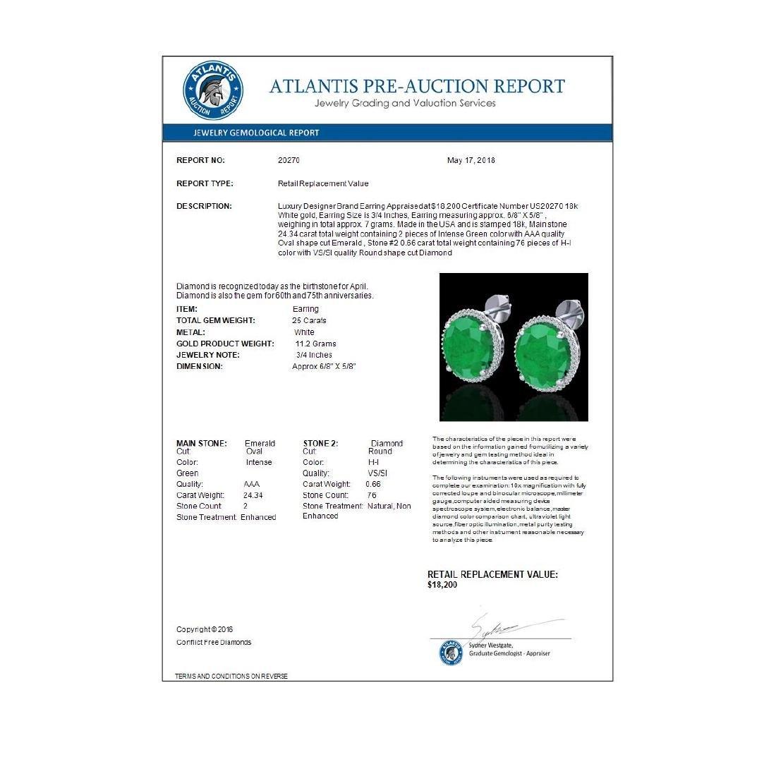 25 CTW Emerald & Micro Pave VS/SI Diamond Halo Earrings - 3