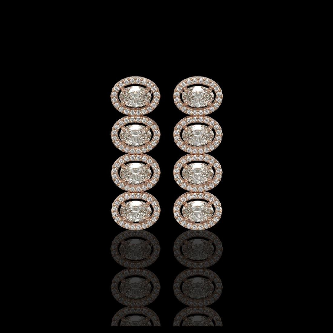 5.33 CTW Oval Diamond Designer Earrings 18K Rose Gold
