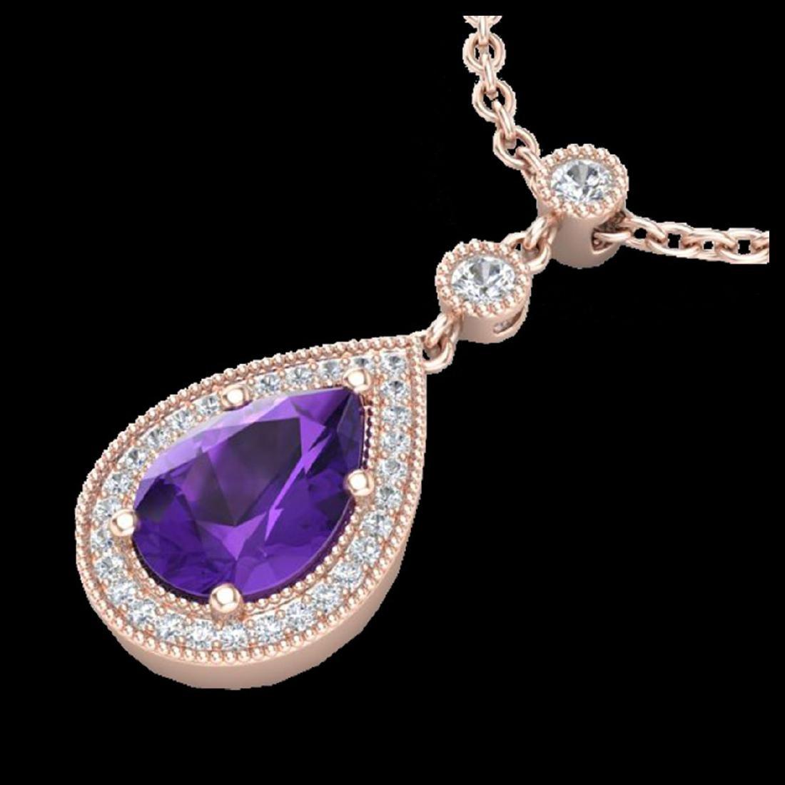 2.25 CTW Amethyst & Micro Pave VS/SI Diamond Necklace