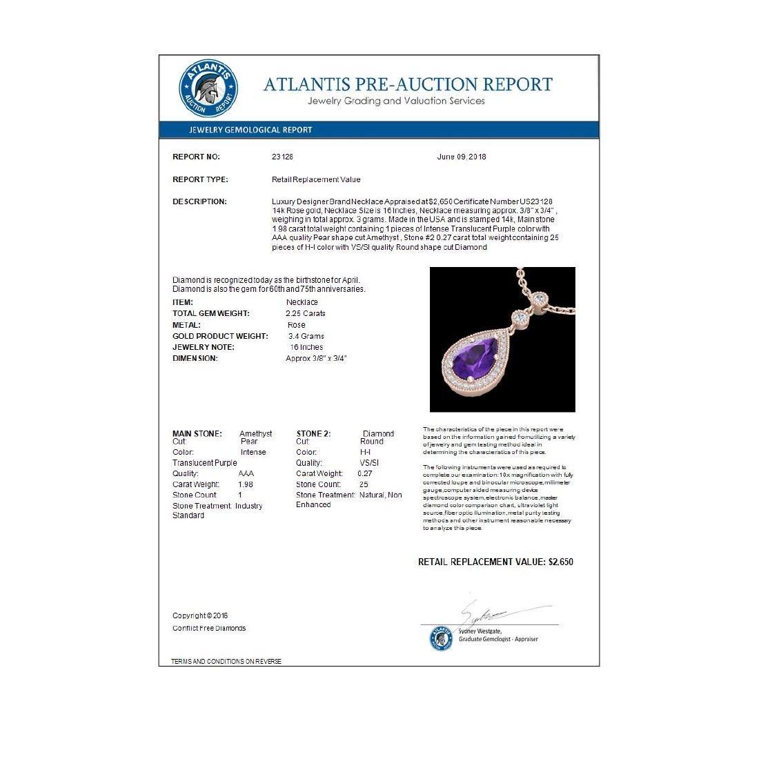 2.25 CTW Amethyst & Micro Pave VS/SI Diamond Necklace - 2