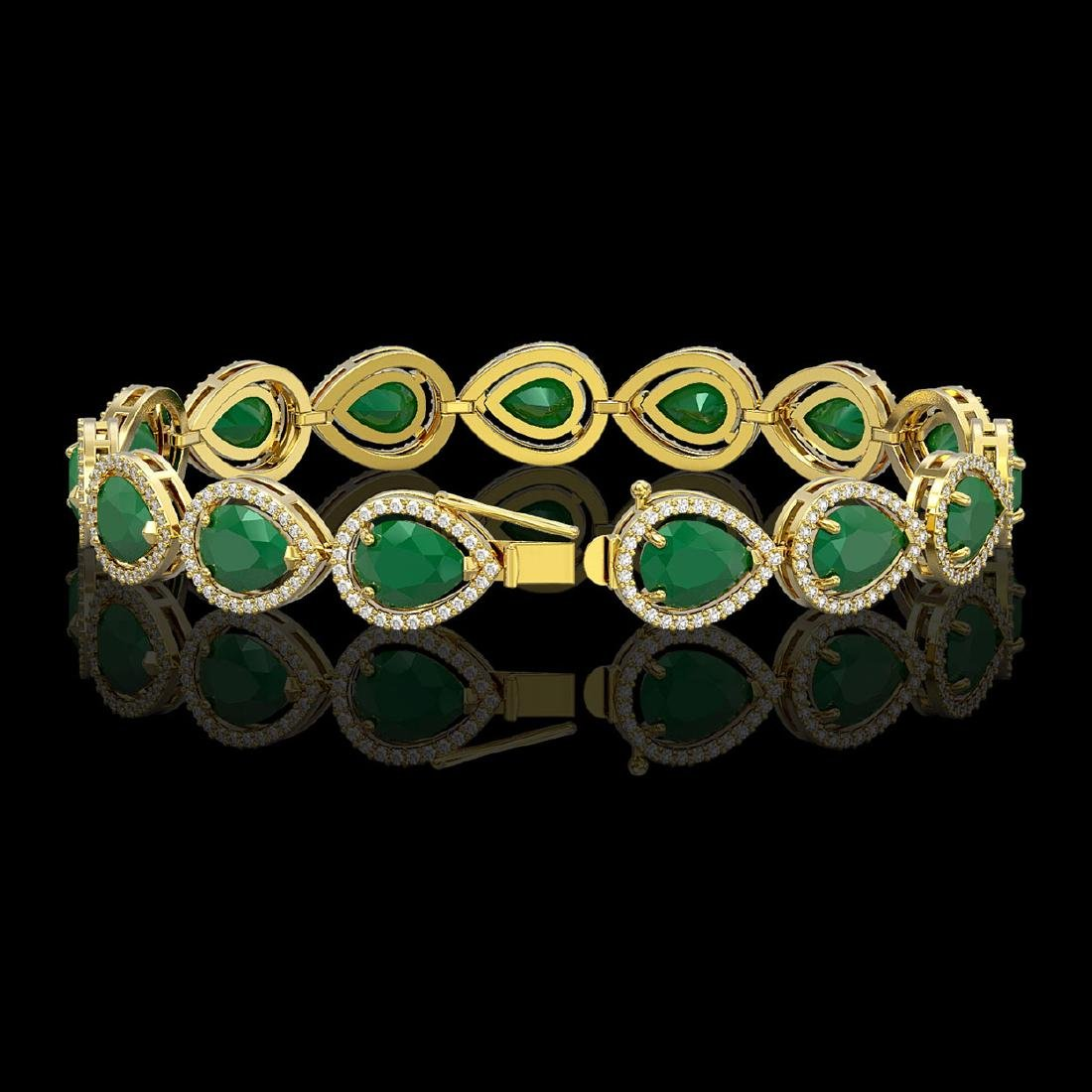 30.06 CTW Emerald & Diamond Halo Bracelet 10K Yellow - 2