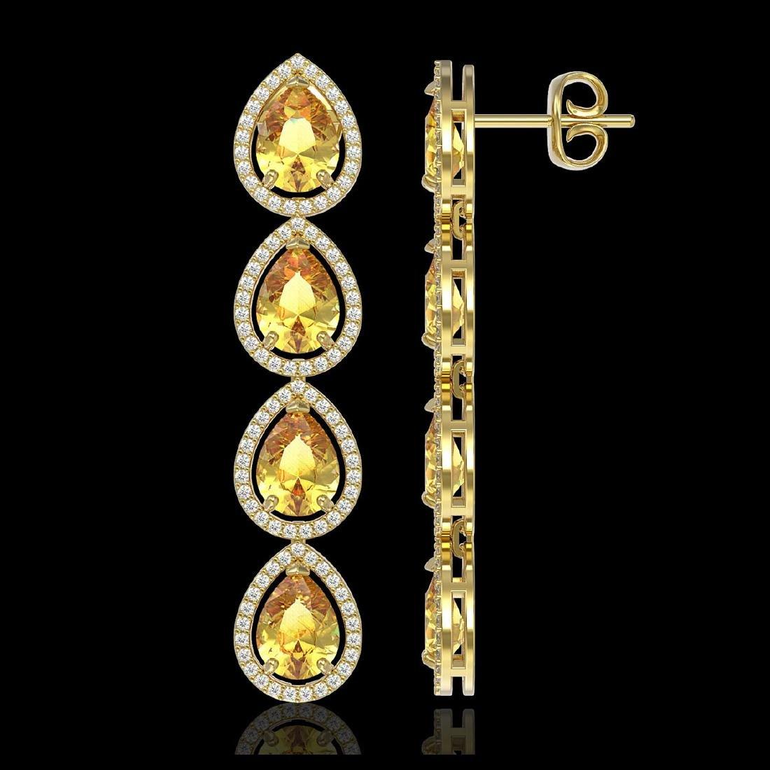 9.2 CTW Fancy Citrine & Diamond Halo Earrings 10K - 2