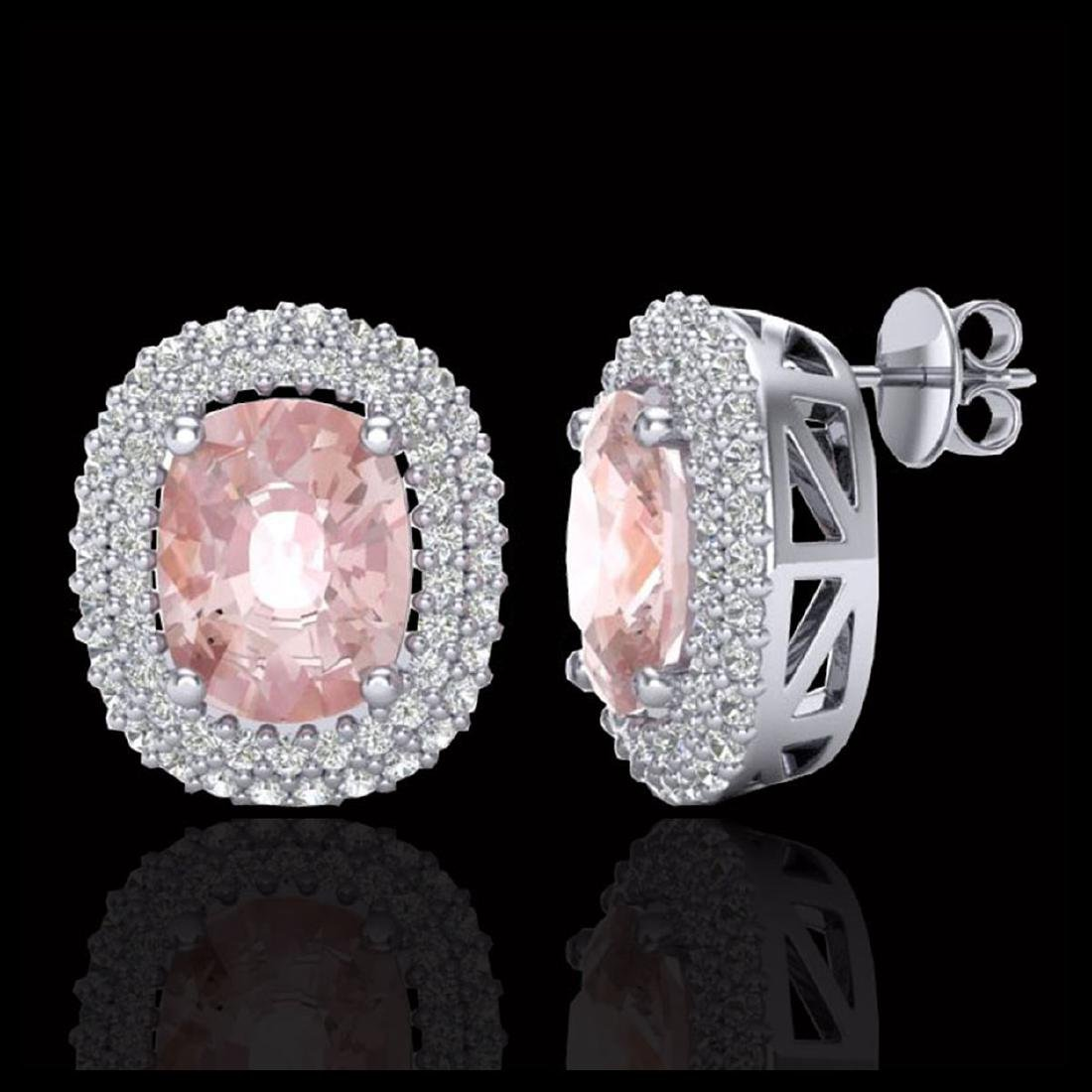 5.50 CTW Morganite & Micro Pave VS/SI Diamond Halo - 2