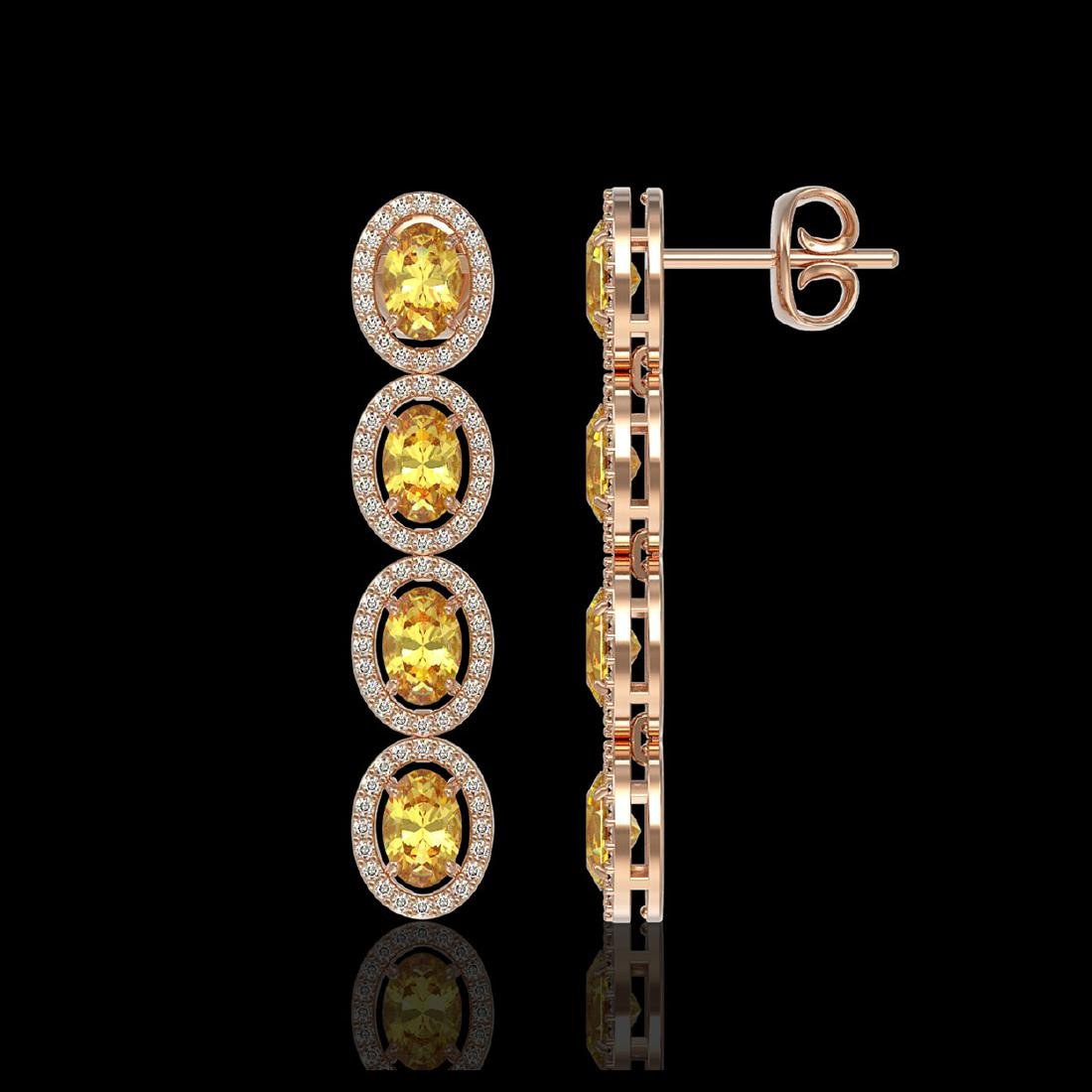 5.4 CTW Fancy Citrine & Diamond Halo Earrings 10K Rose - 2