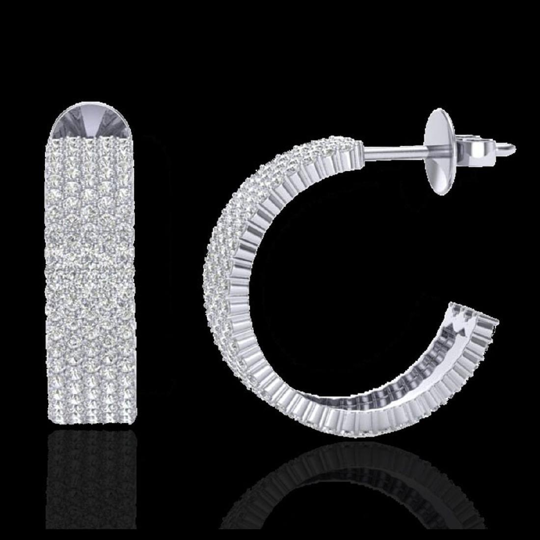 4.50 CTW Micro Pave VS/SI Diamond Earrings 14K White - 2