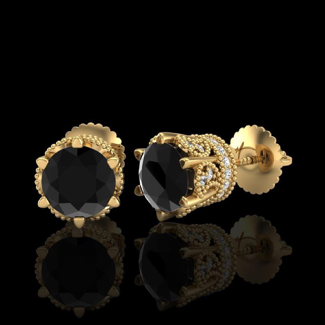 2.04 CTW Fancy Black Diamond Solitaire Art Deco Stud - 2