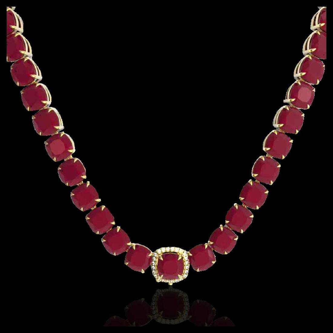 116 CTW Ruby & VS/SI Diamond Halo Micro Pave Necklace - 2