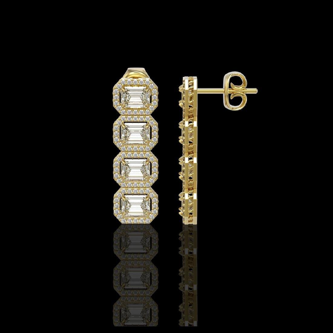 5.33 CTW Emerald Cut Diamond Designer Earrings 18K - 2
