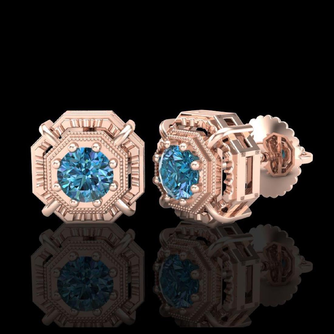 1.11 CTW Fancy Intense Blue Diamond Art Deco Stud - 2