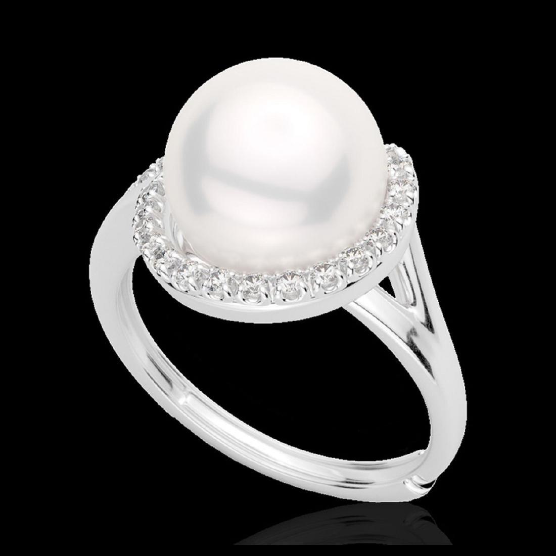 0.27 CTW VS/SI Diamond & White Pearl Designer Ring 18K - 2