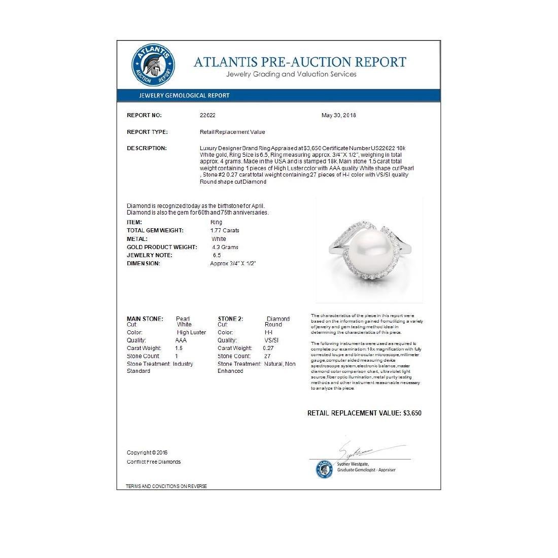 0.27 CTW VS/SI Diamond & White Pearl Designer Ring 18K - 3
