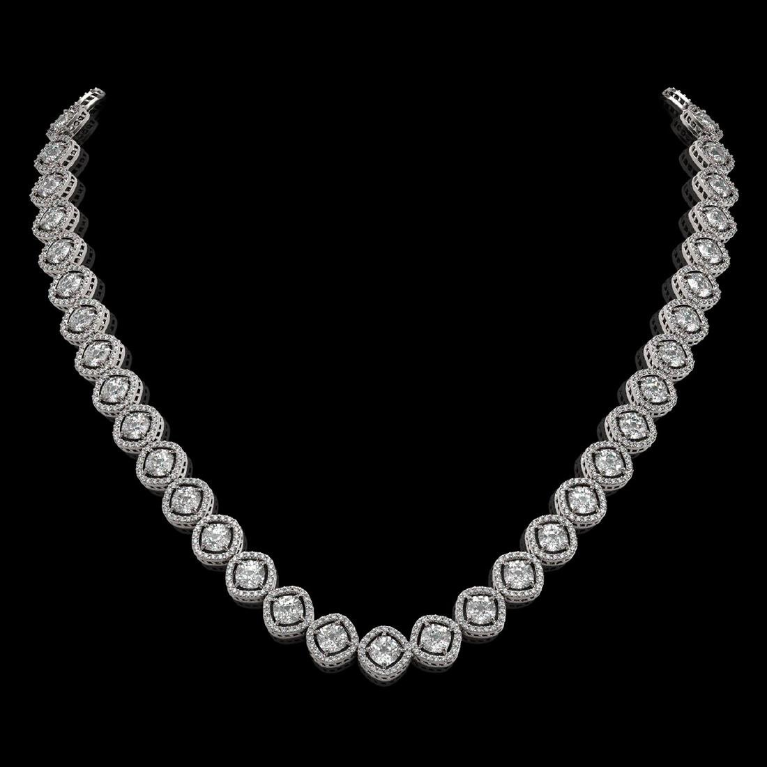 29.37 CTW Cushion Cut Diamond Designer Necklace 18K