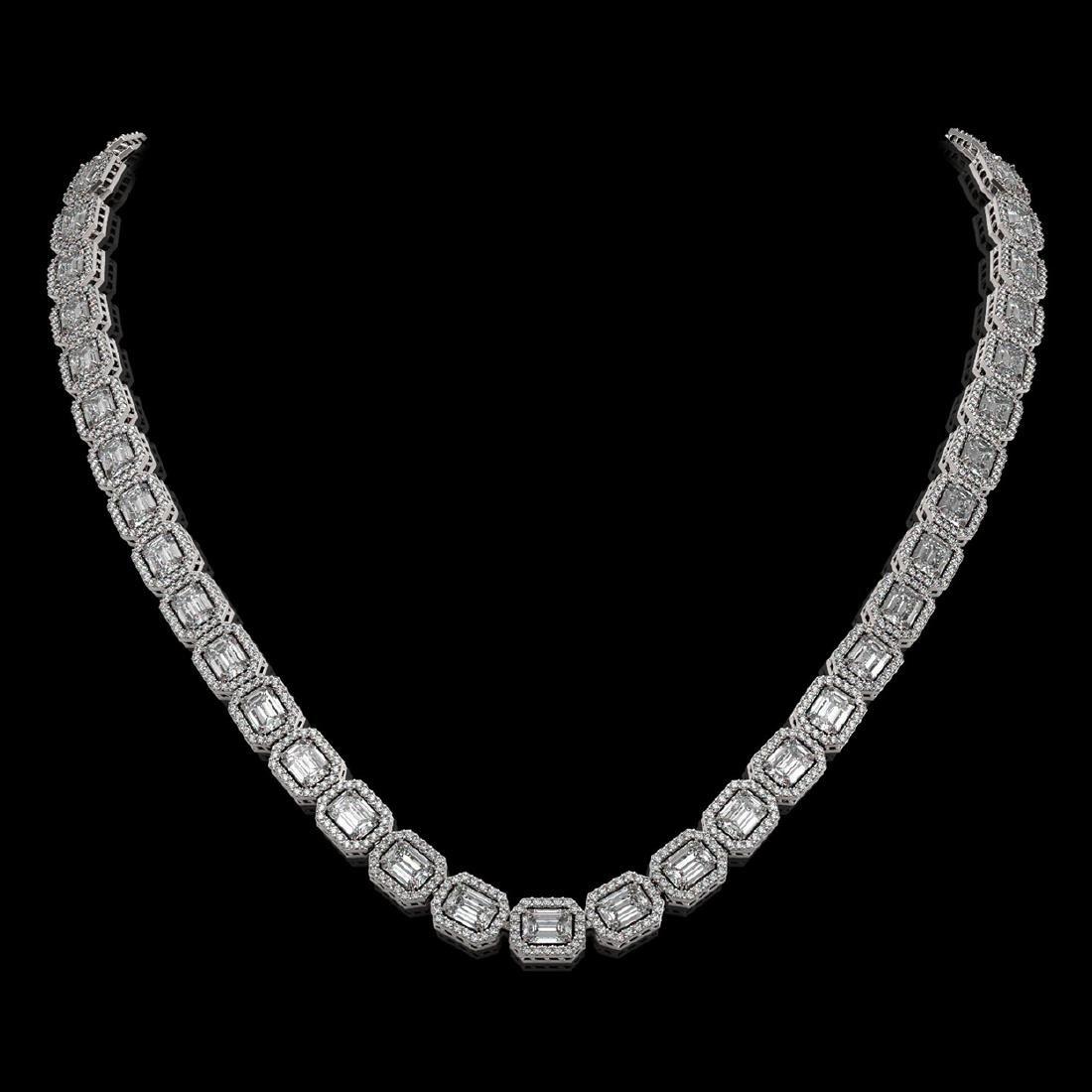 33.10 CTW Emerald Cut Diamond Designer Necklace 18K