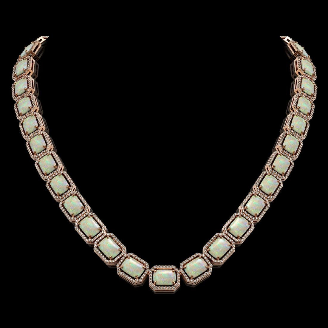 53.59 CTW Opal & Diamond Halo Necklace 10K Rose Gold