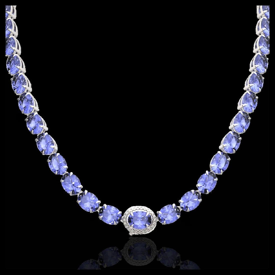 45.25 CTW Tanzanite & VS/SI Diamond Eternity Micro Halo - 2